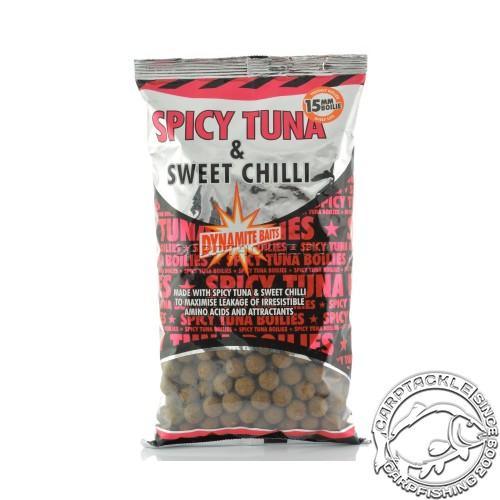 Тонущие бойлы 15мм Dynamite Baits Spicy Tuna & Sweet Chilli 15mm 1kg Острый тунец с Чили