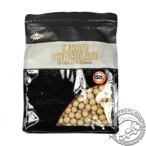 Тонущие бойлы 15мм Dynamite Baits White Chocolate & Coconut Cream Boilie 15mm 1kg Белый шоколад с молотым кокосом