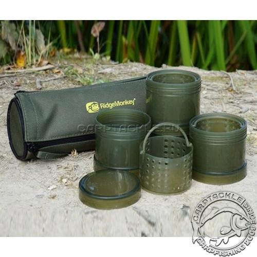 Компактный набор баночек для насадок в чехле Ridge Monkey Modular Hookbait Pots
