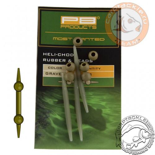 Набор для оснастки PB Products Heli-Chod Rubber & Beads Weed 3pc