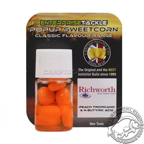 Искусственная плавающая насадка Enterprise Tackle Pop Up Sweetcorn Richword Peach&N-Butyric Персик с Масляной кислотой