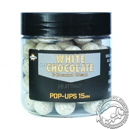 Плавающие бойлы 15мм Dynamite Baits White Chocolate & Coconut Cream Pop-Ups 15m Белый Шоколад с Кокосовым кремом