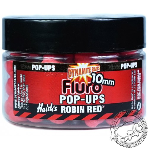 Плавающие бойлы 10мм Dynamite Baits Robin Red Fluro Pop-Ups 10mm Робин Рэд