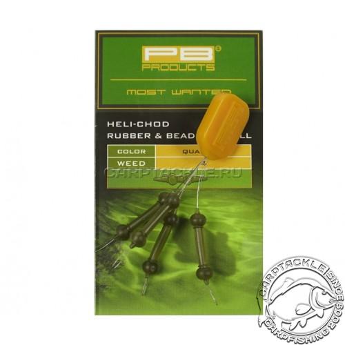 Набор для оснастки Вертолет PB Products Heli-Chod X-small Rubber & Beads Weed 3шт